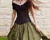 Green Brocade Pixie Skirt Renaissance Costume