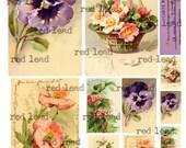 """Digital Vintage Flower Post Cards Collage Sheet - 8-1/2"""" x 11"""" - Vintage Elements 143"""