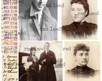 "Digital Vintage Photos Collage Sheet - 8-1/2"" x 11"" - Ancestors 100"