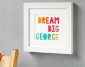 Dream Big Framed Print Personalised Keepsake. New Baby Print. Personalised Nursery Artwork. Inspirational Quote Print. Framed Keepsake.