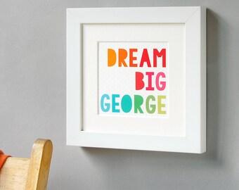 Dream Big Framed Print Personalised Keepsake - New Baby Print - Personalised Nursery Artwork - Inspirational Quote Print - Framed Keepsake