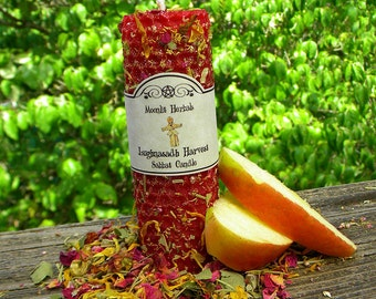 Lughnasadh Harvest Beeswax Sabbat Candle - Lammas, Prosperity, Abundance, Fall Bounty, Fruitfulness, Lugh, Corn King, Celts, Pagan, Wicca