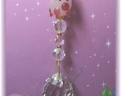 Adorable Lampwork Pink Pig Suncatcher with Austrian 20mm Crystal Ball,  Handmade Hanger, Unique Gift