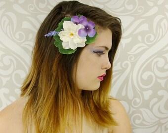 Flower Hair Clip, Bridal Hair Clip, Woodland Hair Clip, Purple and White Fascinator, Woodland Wedding, Boho Hair Clip