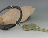 Enameled Hoop Pendant, 3 D enameling, Torch Fired, Vintage Key