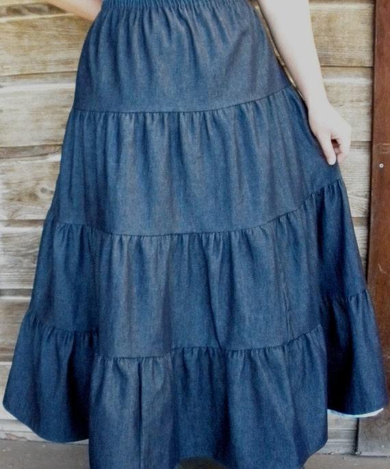 denim 4 tiered skirt blue jean plus size 1x by