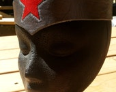 Warrior Woman Leather Tiara Headdress - Silver or Gold with Red Star Comic Costume Accessory