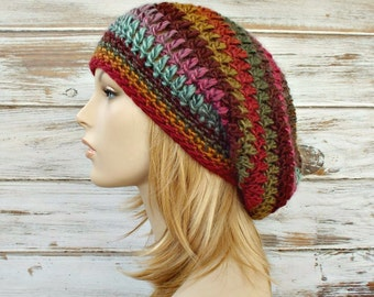 Crochet Hat Rainbow Womens Hat Slouchy Beanie - Weekender Slouchy Hat Desert Spring - Multicolor Hat Womens Accessories