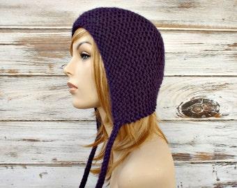 Purple Knit Hat - Purple Womens Hat - Purple Ear Flap Hat - Purple Hat Purple Beanie - Purple Bonnet Womens Accessories - READY TO SHIP