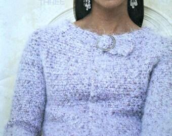 Sweater Knitting Patterns Crochet Karma Three Patons 500832 Cardigan Vest Capelet Scarf Women Paper Original NOT a PDF