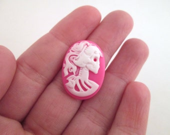 18x25mm hot pink skeleton cameos, Lolita Day Of The Dead