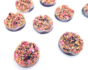 10 metalic pink and gold 12mm round multicolor resin druzy cabochons, E153