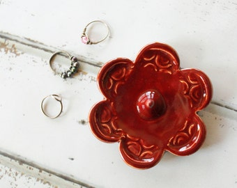 Red Ring Holder, Ring Dish, Ring Bowl, Great Gift Idea, Ready to Mail
