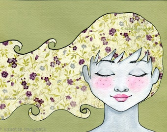 Melinda - Original painting , mixed media ilustration , drawing , girl with flower hair , artwork , nursery home decor , portrait