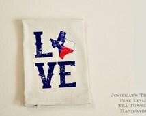 Texas Tea Towel - Texas Love Tea Towel - Linen Hostess Gift - Texas Gift Kitchen - Texas Hostess GIft - Retro Texas Towel - Texas Pride Gift