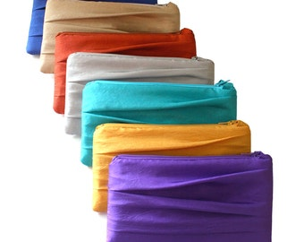 SET OF 7 Pleated Bridesmaids Clutches - Royal Blue Natural Beige Burnt Orange Silver Turquoise Gold Purple And More