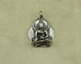 1 Sitting Buddha with Halo Pendant Charm > Yoga Zen Inner Peace Buddhist - Raw American Made Lead Free Silver Pewter Ship internationally