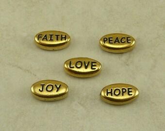 5 TierraCast Word Beads Mix Pack > Love Peace Joy Hope Faith - 22kt Gold Plated LEAD FREE Pewter - I ship Internationally a3