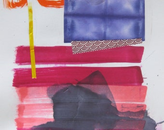 """HAIKU lV mixed media collage and painting on paper 18"""" x 12"""""""