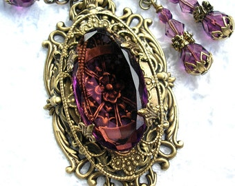 Picture Window - Vintage Amethyst Glass Jewel Antiqued Brass Beaded Necklace Earring Set
