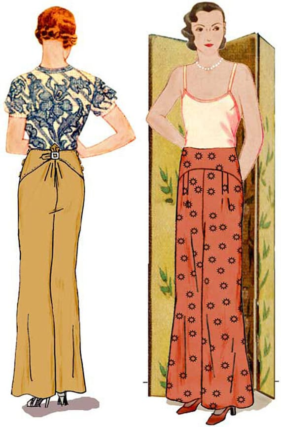 1930s Dresses, Clothing & Patterns Links 1930s Salon Trousers Pattern || Decades of Style $18.00 AT vintagedancer.com