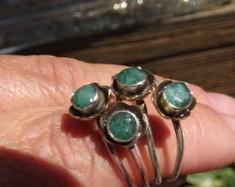 HOLIDAY SALE Genuine Emerald Sterling Silver Flower Stacking Ring - Size 9 -Mix and Match Stack Rings Collection