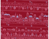 HALF YARD - Village and Forest Rows on RED - Houses, Trees, Flowers, People, Bicycle, Carriage, Castle, Lamp Post - Japanese Import