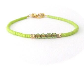 Lime Green Bracelet - Friendship Bracelet - Tiny Bracelet - Seed Bead Bracelet - Green Bracelet - Beaded Bracelet - Hawaiian Jewelry