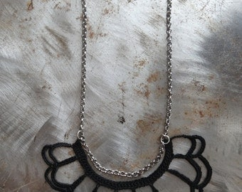 As Featured in Belle Armoire Jewelry, Black Loopy Crocheted Necklace, Crocheted, Original, Ruffled, Monicaj
