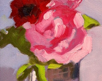 Original, Still Life, Oil Painting, Pink Rose, Red Blooms, Romantic Bedroom Art, Small 6x8 Canvas, Blue Lavender, Home Decor, Wall Art