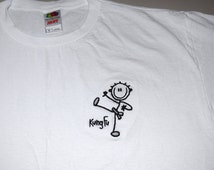 Stick Figure T-Shirt KUNG FU Martial Arts Embroidered - Made to Order