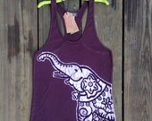 Elephant racerback tops & tees women  batik women tank top individually hand painted and hand dyed