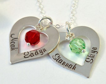 Mother's Name Necklace, Personalized Mommy Necklace, Heart Necklace, Heart Charm Necklace, Washer Style with Birthstones