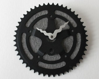 Bicycle Gear Clock - Charcoal Vintage Star  |  Bike Clock  | Wall Clock | Recycled Bike Parts Clock