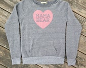 Mama Bear with Heart Heather Grey Sweatshirt with Pink print