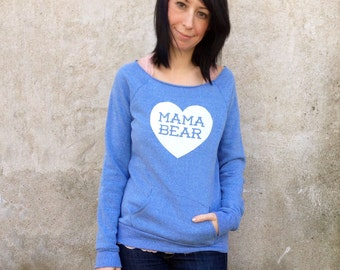Mama Bear with Heart Heather Blue Sweatshirt with White print - Cozy Gift for Mom