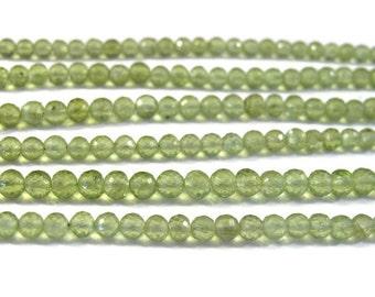 Natural Peridot Beads, Round Faceted Gemstones, Green Gemstones, August Birthstone, 4mm, 8 Inch Strand, August Birthstone (S-Pe1)