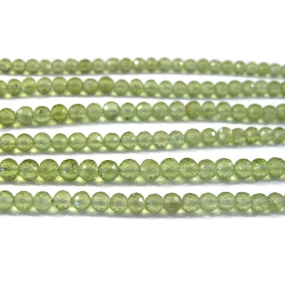Natural Peridot Beads, Round Faceted Gemstones, Green Gemstones, August Birthstone, 4mm, 8 Inch Strand, August Birthstone (S-Pe1)