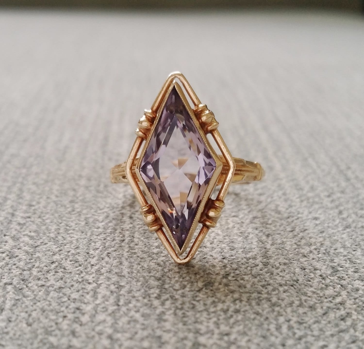 Antique Amethyst Engagement Ring Diamond Cut 1800s Bohemian