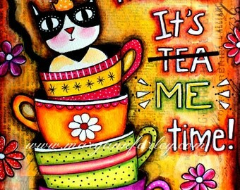 Funny Cat Art Print, Animal Art, Whimsical Art, Storybook, Humorous Text Art, Mixed Media, 8 x 10 or 5 x 6.25, Yellow Orange Multicolor