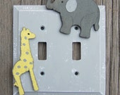 Kids Switch Plate Cover JUNGLE - Hand Painted - Pale grey