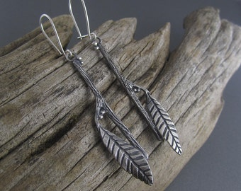Leafy Twig Droplet Sterling Silver Earrings
