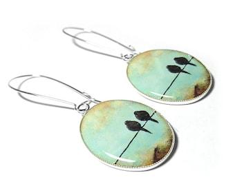 Bird on a Wire Dangle Earrings, Blue Earrings, Resin Jewelry, Handmade, Black Crow, Raven Earrings, Handmade Jewelry, Resin Earring