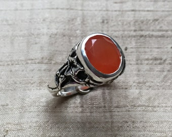 SALE Carnelian and Sterling Silver- The Ivy Ring