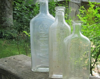 Three Vintage/ Antique Medicine Bottles - Syrup of Black Draught/ Groves Tonic/ Watkins