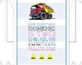 Custom order 20 Dump Truck Construction Birthday Invitations
