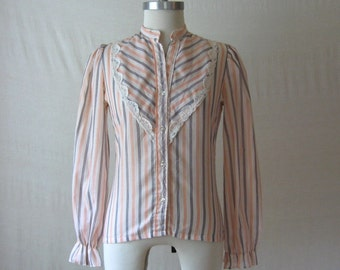 Striped Shirt 70s Prairie Blouse High Neck Puff Sleeve Blouse Victorian Style