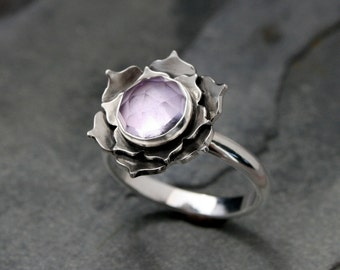 Lotus Amethyst Ring, Sterling Silver Cocktail Ring, Statement Ring, Faceted Rose Cut Gemstone, Lavender Purple Lotus Flower, Jewel, Orchid