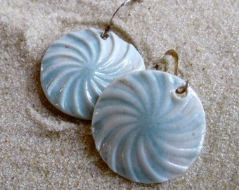 Porcelain Aqua Pinwheels on Silver Earwires - Porcelain Drop Earrings