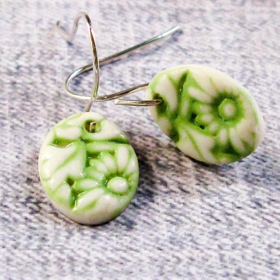 Tiny Drop Earrings, Green Porcelain Flowers - handmade ceramic jewelry